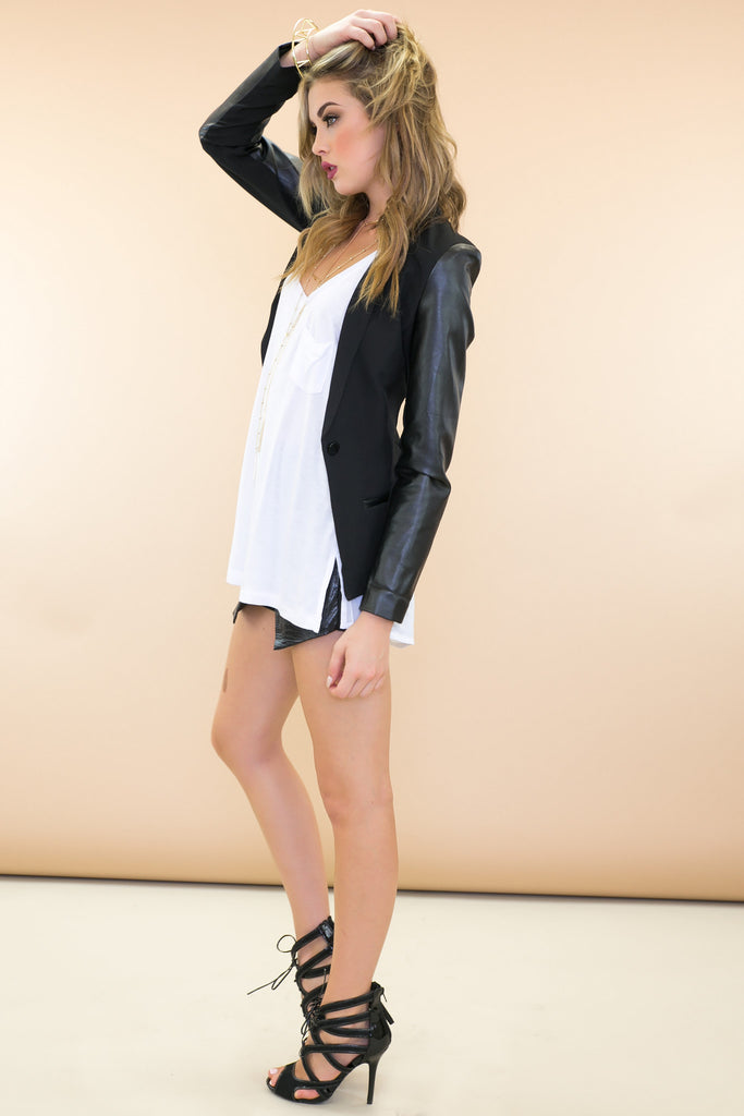 Rand Leather Sleeve Blazer - Black