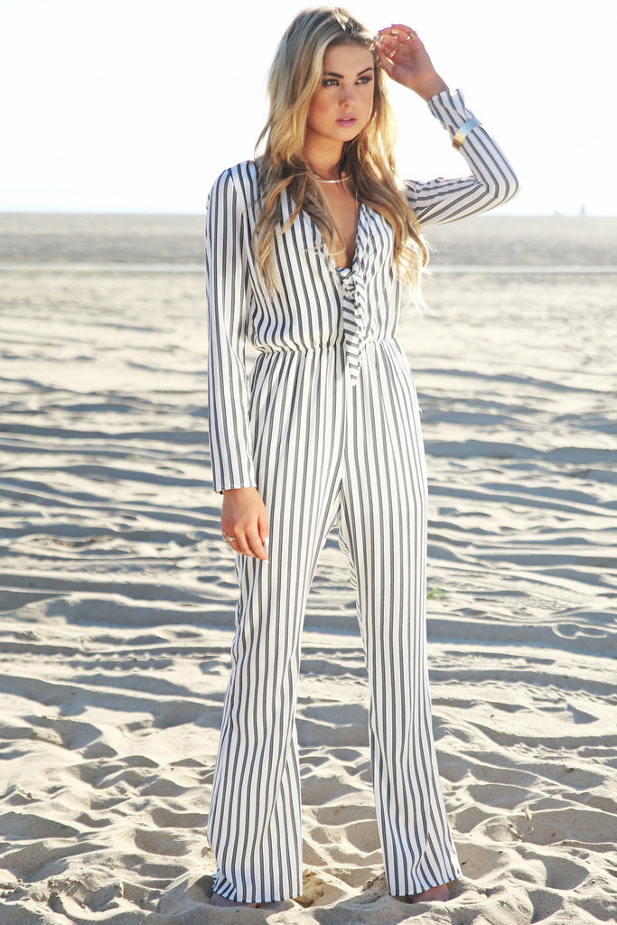 Endley Striped Deep-V Jumpsuit