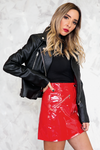 Patent Leather Mini Skirt - Red