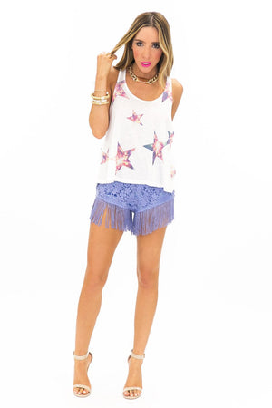 LIGHTS IN STAR DEEP ARMHOLE PRINT TOP - Haute & Rebellious