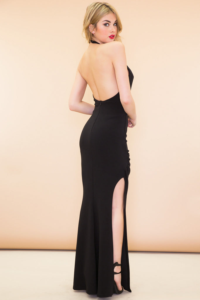 Stella Slit Halter Maxi Dress - Black - Haute & Rebellious