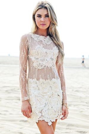 Nallina Long Sleeve Lace Dress - Nude - Haute & Rebellious