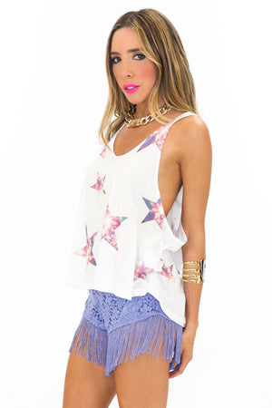 LACE FRINGE SHORTS - Purple - Haute & Rebellious