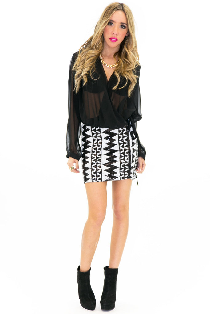 CONRAD TRIBAL SEQUIN SKIRT