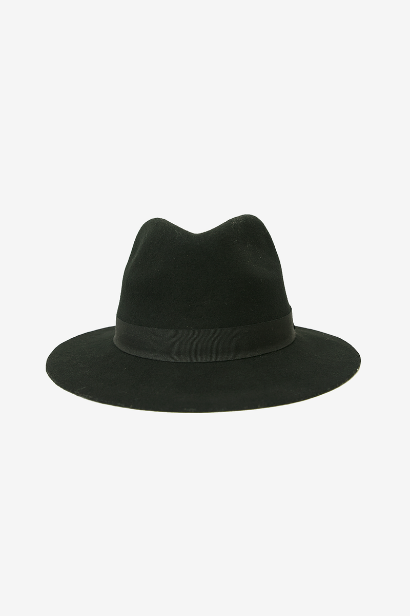Flat Brim Fedora Wool Hat - Black