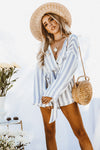 Striped Deep-V Romper with Tie Waist