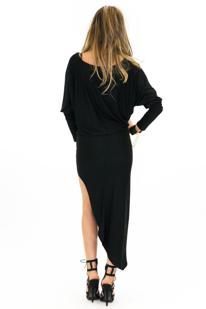 CARINE ASYMMETRICAL MIDI DRESS