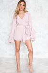 Deep-V Bell-Sleeve Romper - Blush
