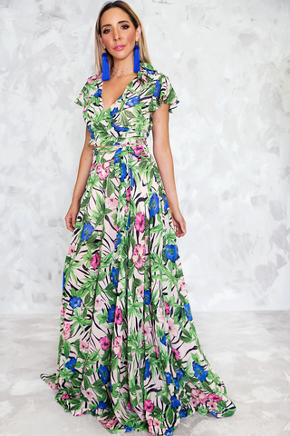 MADDI CONTRAST MAXI DRESS