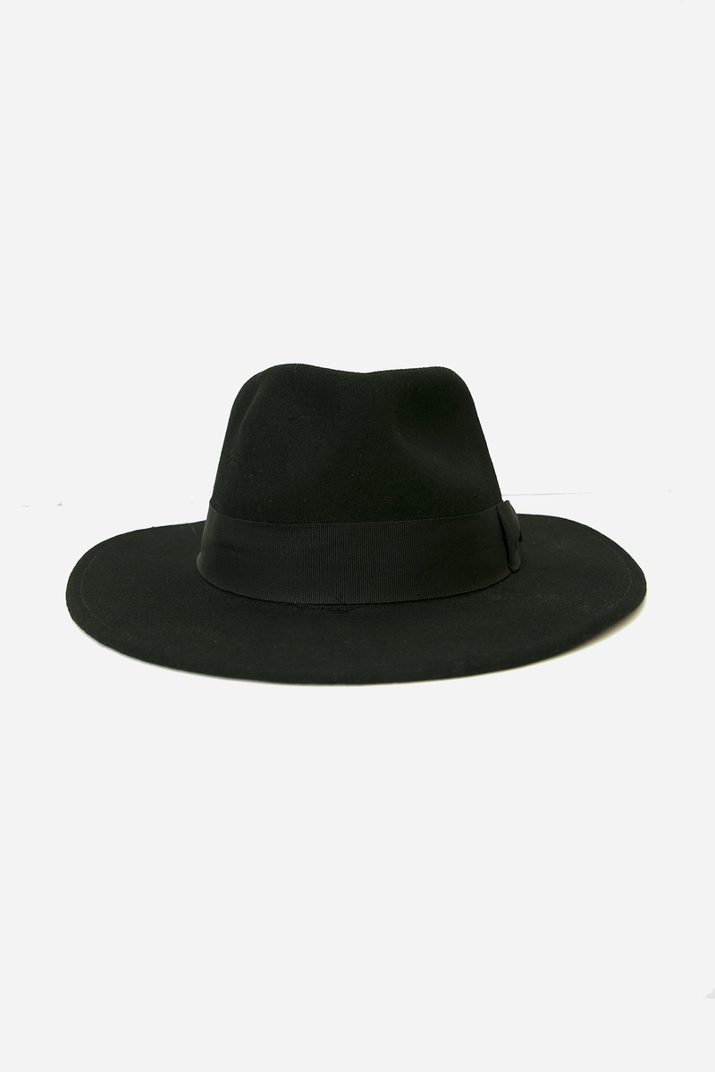 Fedora Wool Hat with Thick Band - Black
