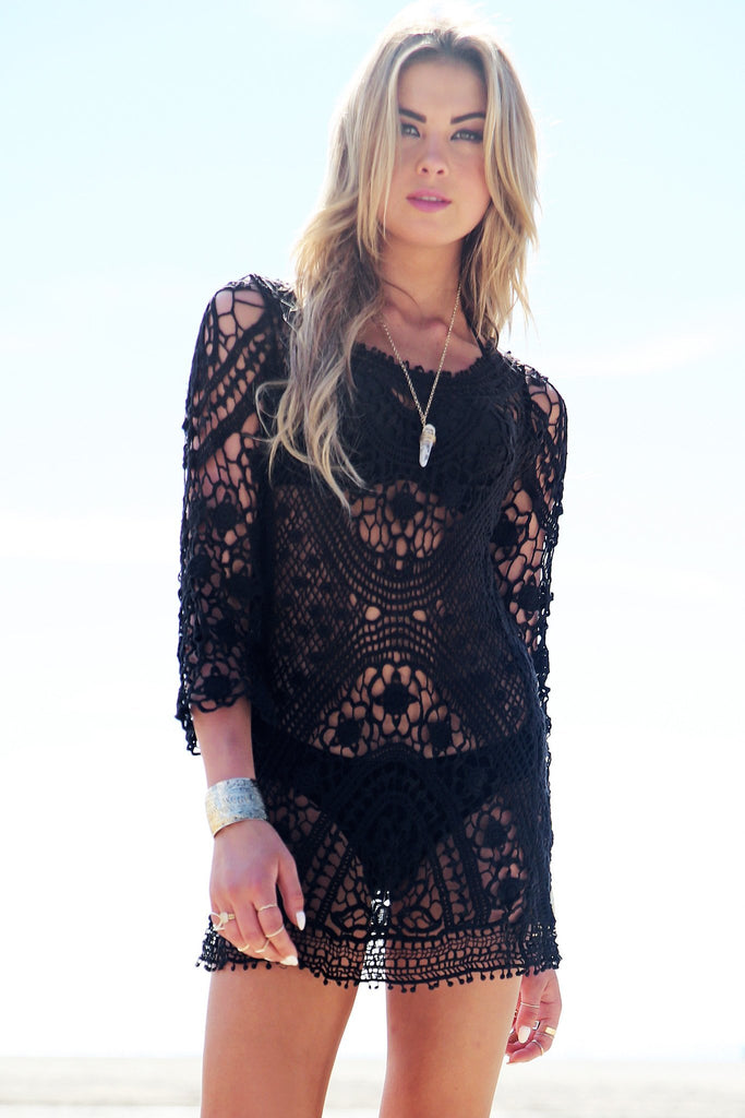 Mahana Crochet Tunic - Black
