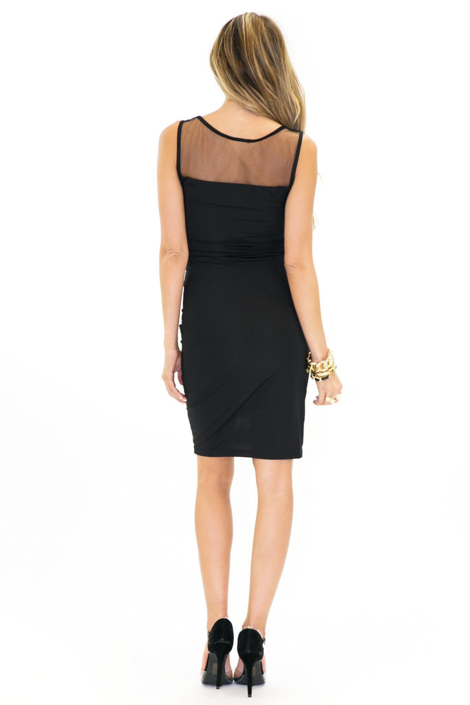 BADGLEY MESH CONTRAST DRESS - Black