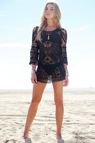 Mahana Crochet Tunic - Black - Haute & Rebellious