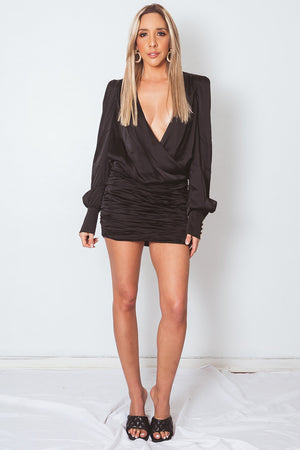 Deep-V Long Sleeve Dress