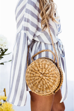 Round Cross-body Basket  Bag - Natural