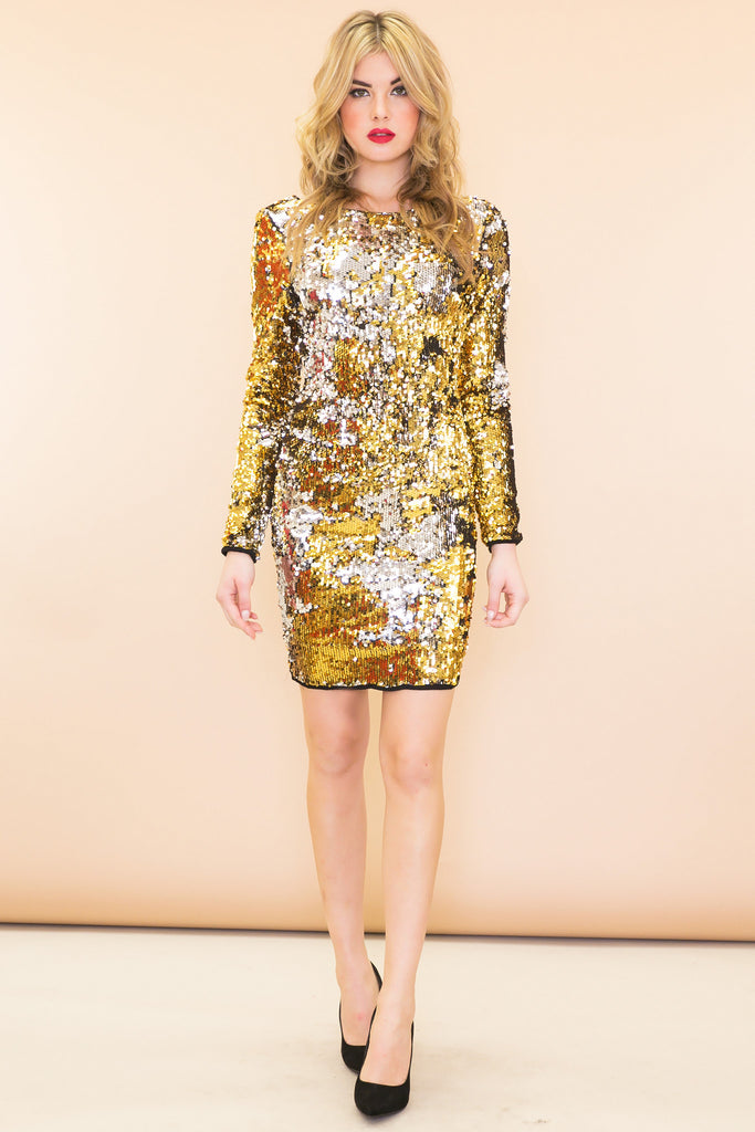 Sasha Metallic Open-Back Sequin Dress - Gold