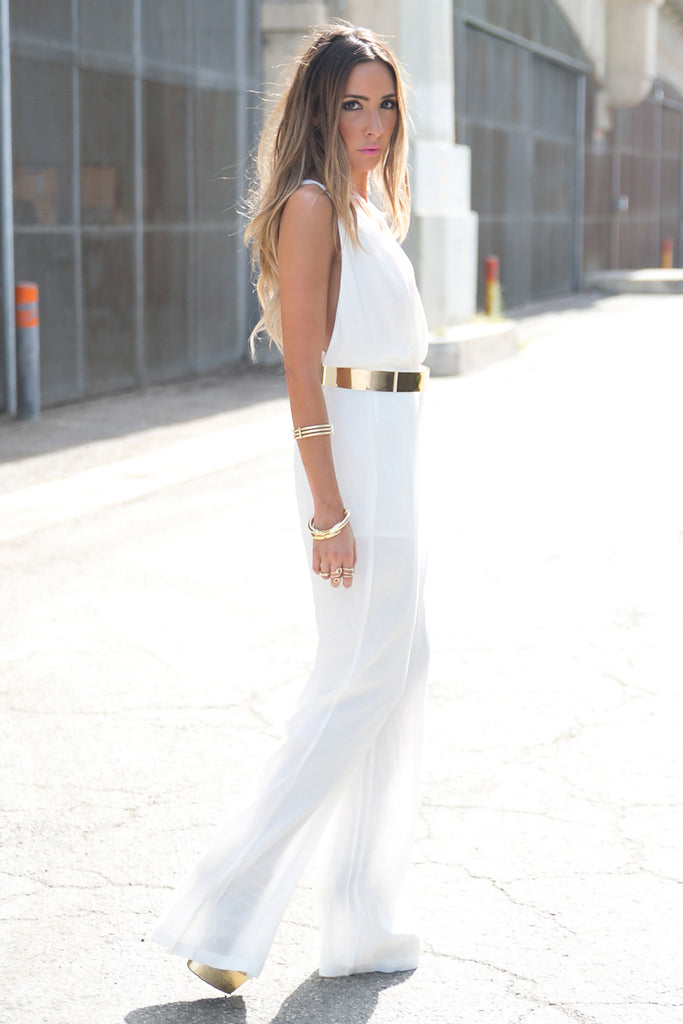 TORY OPEN BACK JUMPSUIT - White