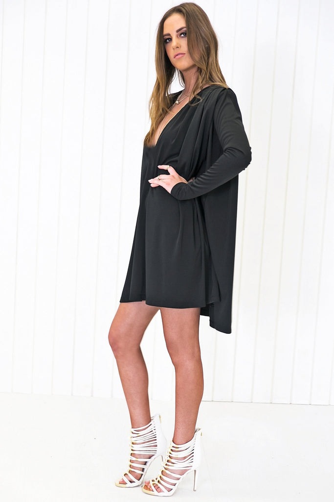 Ladan Flowy Drape Dress - Black
