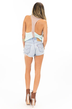 JERSEY MESH MIX RACER BACK TOP - Haute & Rebellious