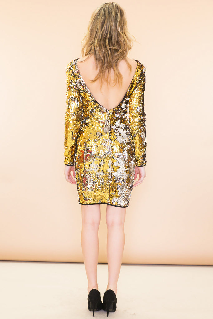 Sasha Metallic Open-Back Sequin Dress - Gold - Haute & Rebellious
