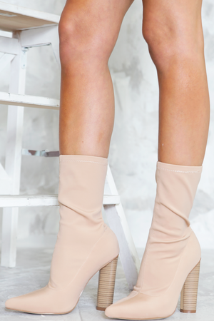 Walk The Talk Sock it Booties - Nude - Haute & Rebellious