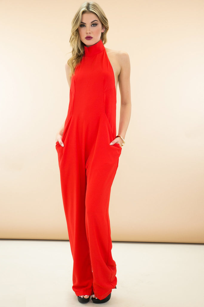 Lenai Open Back Jumpsuit - Red