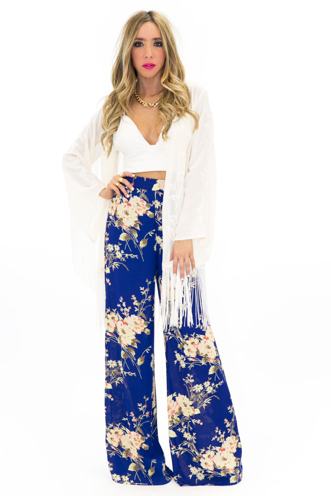 LANE EMBROIDERED FRINGE KIMONO - Cream - Haute & Rebellious