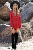 Santisi Lace-Up Romper - Red