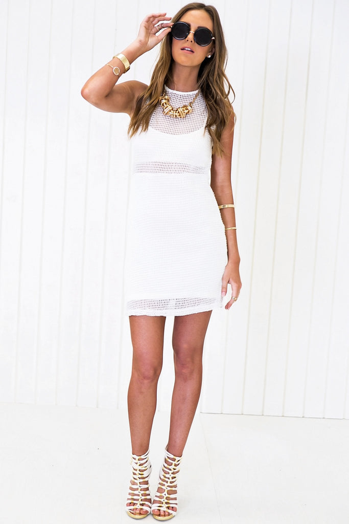 Heckford Mesh Dress - White