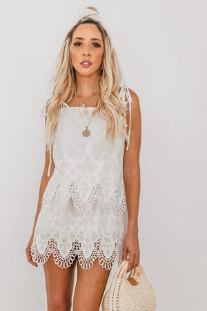 Eyelet Lace Mini Dress