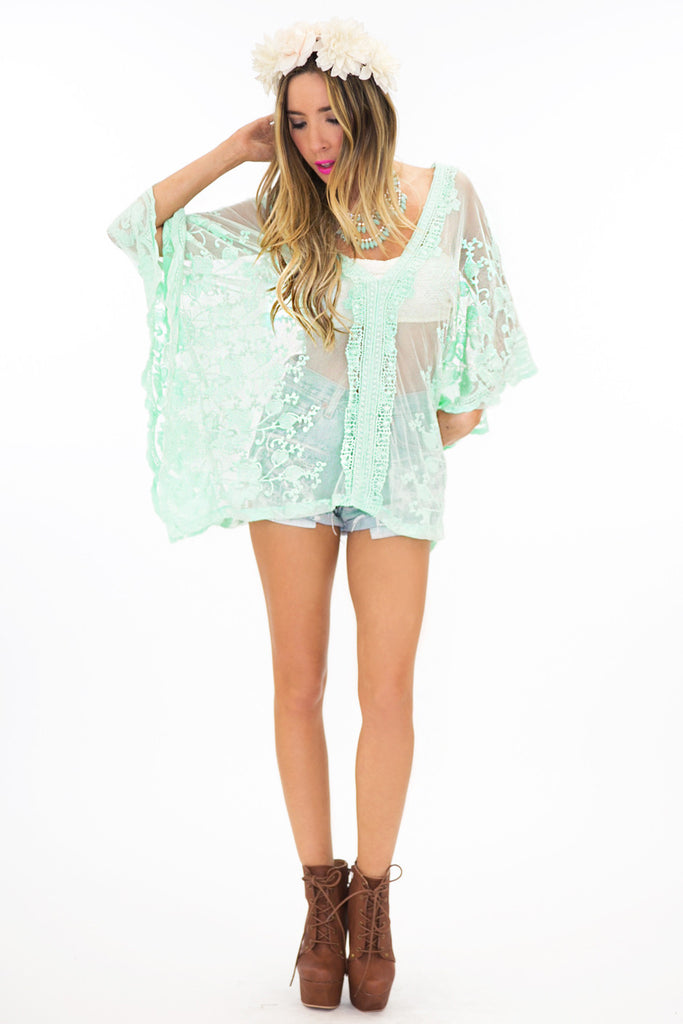 SHEER LACE COVER-UP SHIRT - Mint