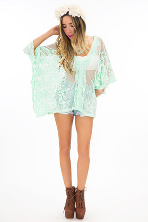 SHEER LACE COVER-UP SHIRT - Mint - Haute & Rebellious
