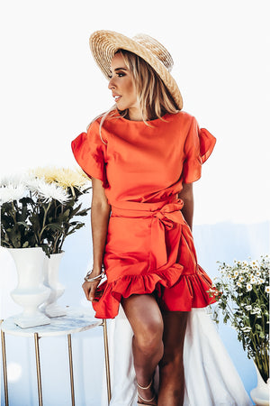 Ruffle Wrap Dress - Red