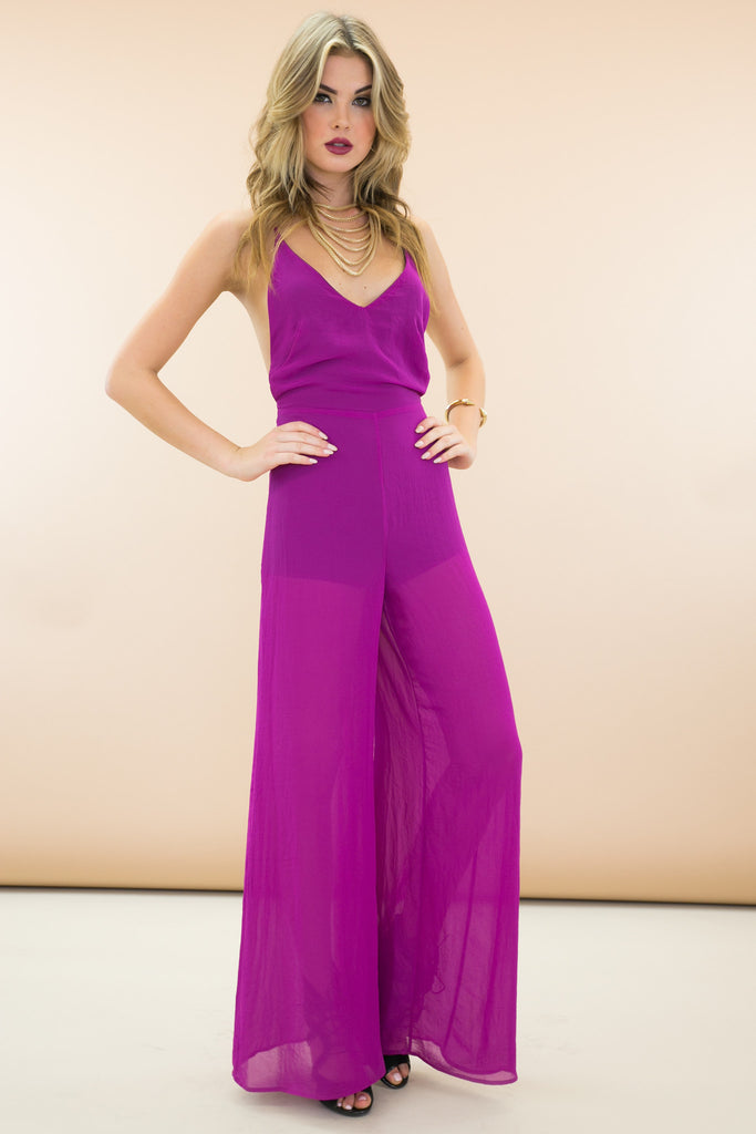 STELLA OPEN BACK JUMPSUIT - JEWEL ORCHID