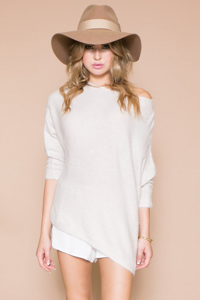LUCIA FUR ASYMMETRICAL SWEATER - Off White