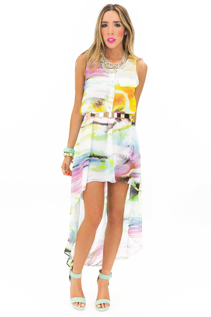 VELA HIGH-LOW WATERCOLOR DRESS