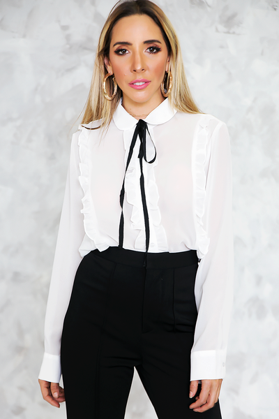 Chiffon Blouse with Ruffle