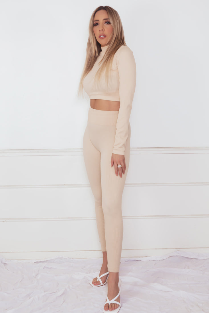 Ribbed Top & Pant Set - Nude