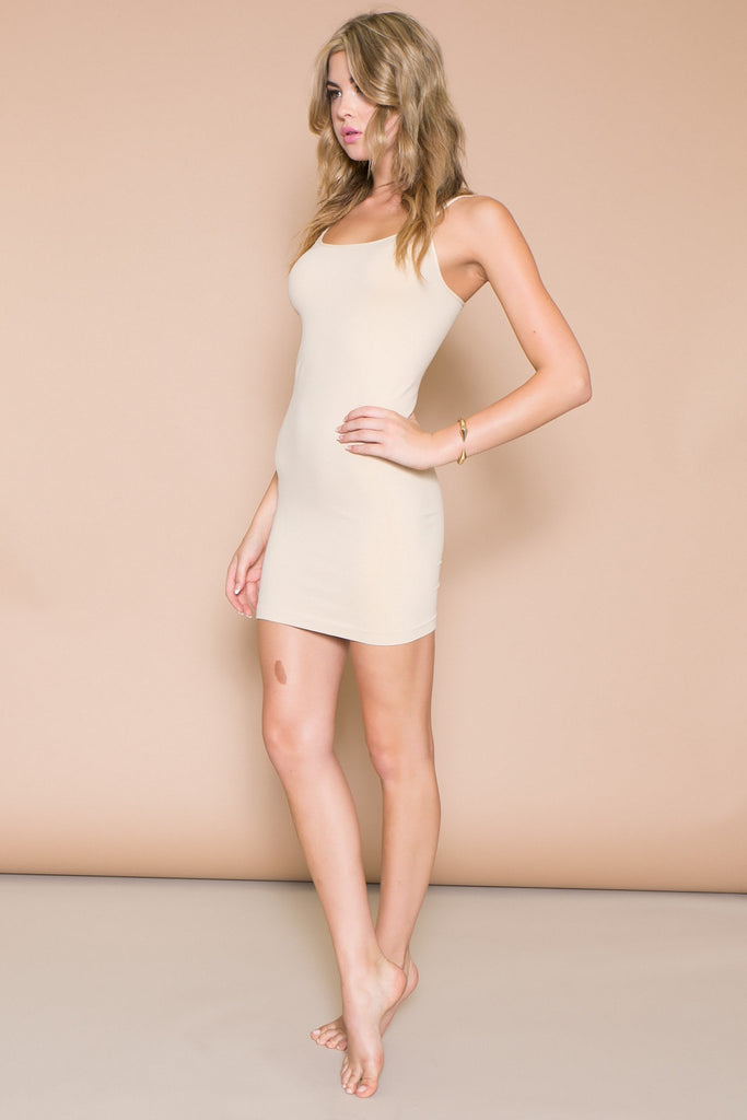 LEST LONG CAMISOLE DRESS - Beige