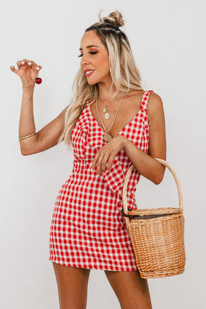 Gingham Mini Dress with Ruffle - Red