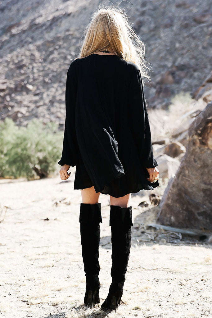 Over The Hill Shift Dress - Black