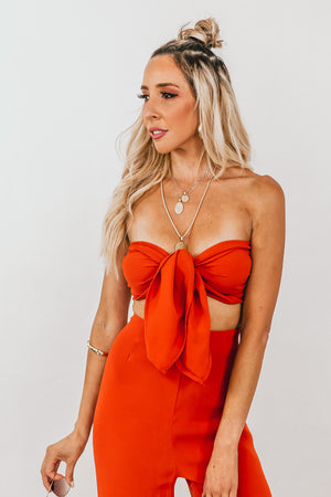 Crop Top with Front Tie - Burnt Orange