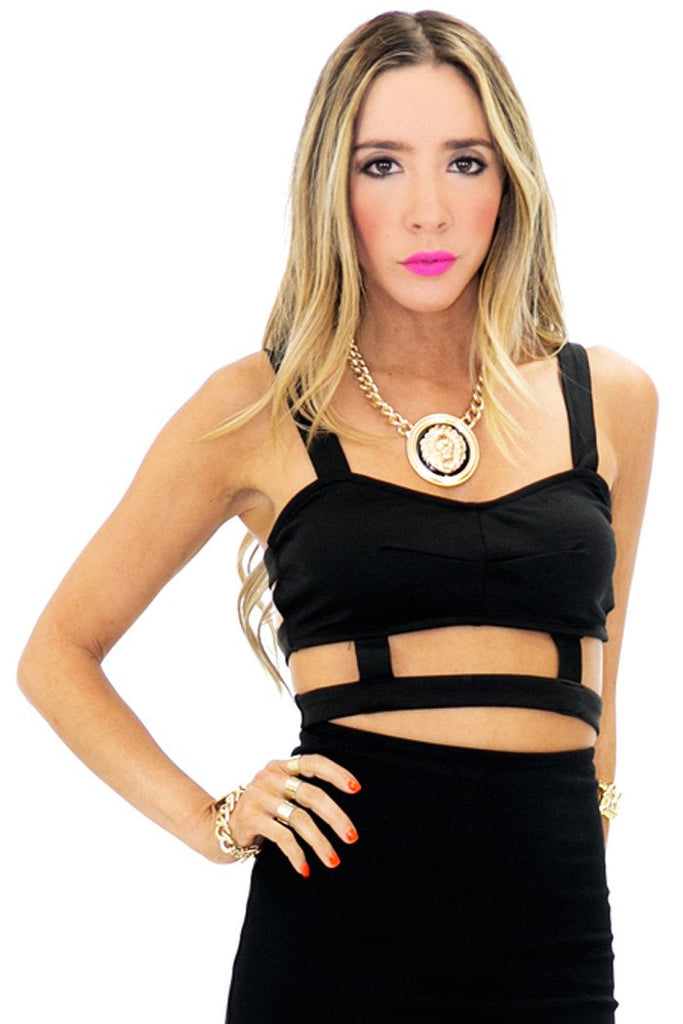JED CUTOUT CROPPED TOP - Black - Haute & Rebellious