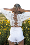 Embroidery Lace-Up Back Crop Top - Haute & Rebellious
