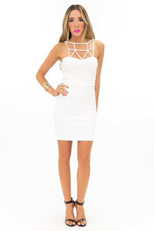 PONTI HIGH WAISTED SKIRT - White - Haute & Rebellious