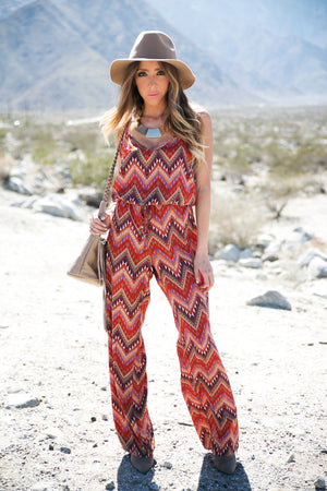 TANYA TRIBAL CHIFFON JUMPSUIT - Haute & Rebellious