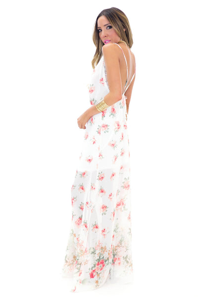 HANNAH FLORAL MAXI DRESS - Ivory - Haute & Rebellious