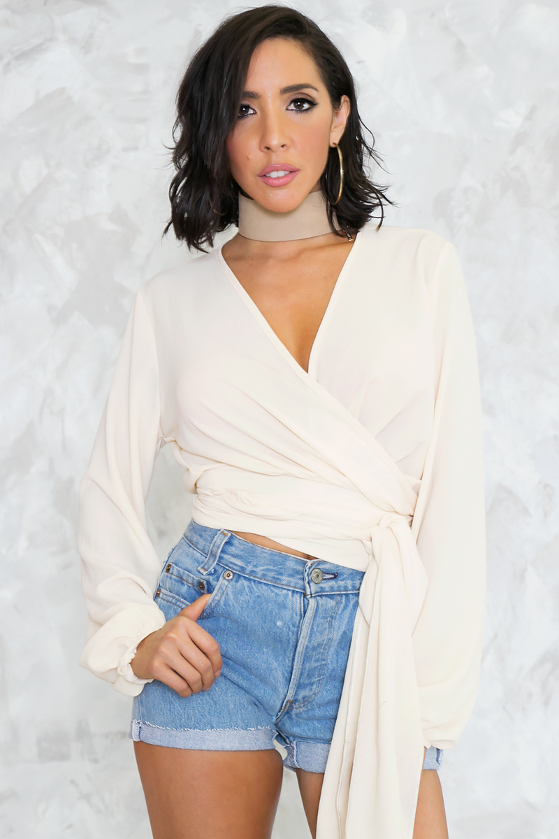 Wrap Me In Blouse - Cream - Haute & Rebellious