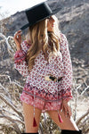 Print Romper with Lace Up Detail