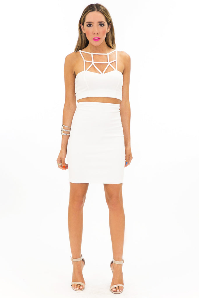 ZOE CUTOUT CROPPED TOP - Ivory